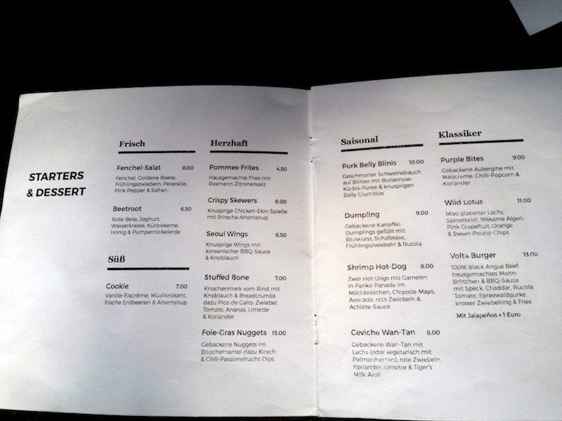 restaurant volta speisekarte mit gerichten und preisen