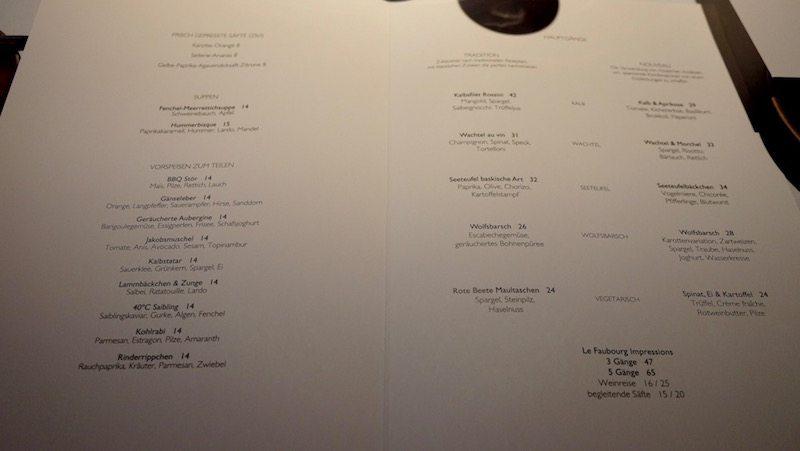 berlin restaurants le faubourg speisekarte mit gerichten und preise