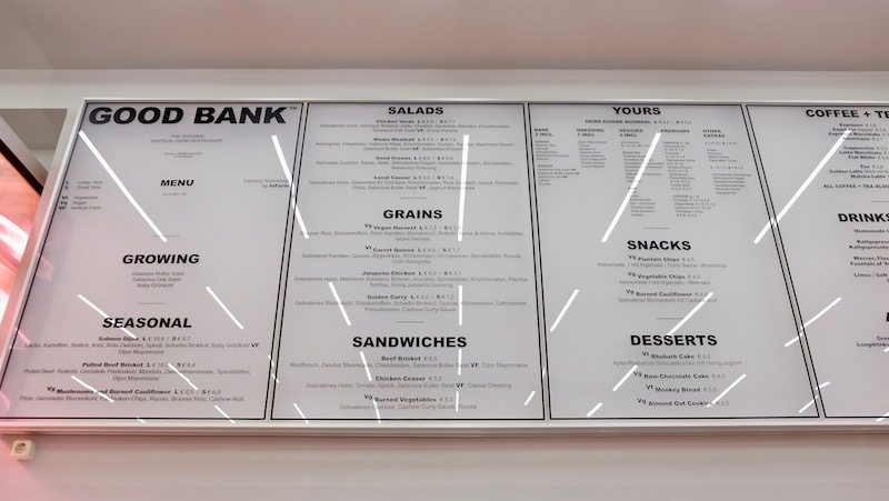 Die Good Bank Speisekarte mit allen Gerichten und Preisen.