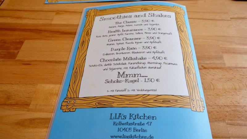 Speisekarte inkl. Preise für die Smoothies und Shakes im Lia's Kitchen