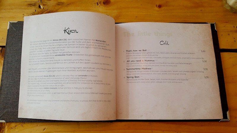 Kinza Restaurant Speisekarte und Preise für die kalten Tapas.