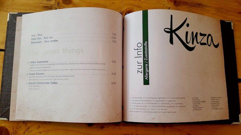 Kinza Restaurant Speisekarte und Preise für die Desserts.