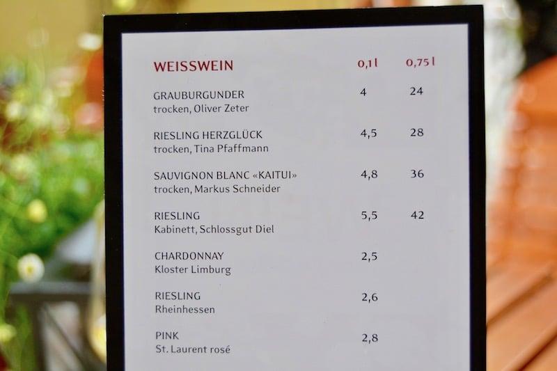Auszug aus der Weinkarte im Restaurant Zur letzten Instanz