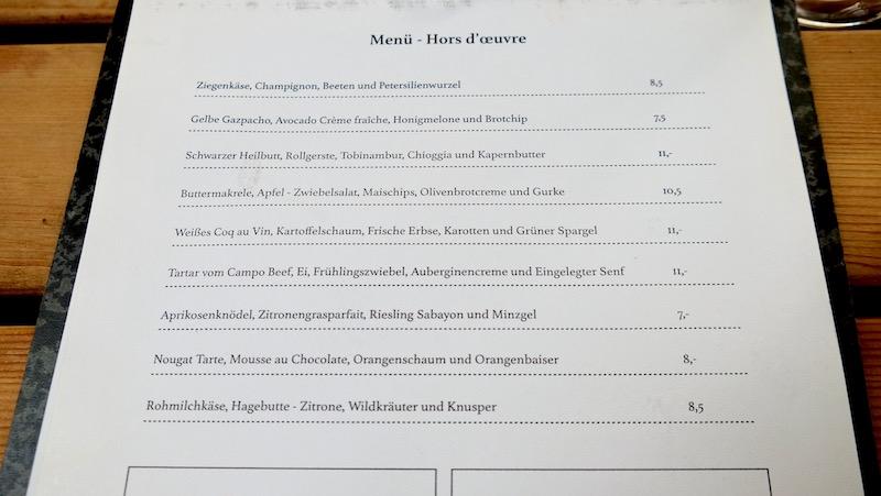Die Speisekarte inkl. Preise vom Bricole in Prenzlauer Berg