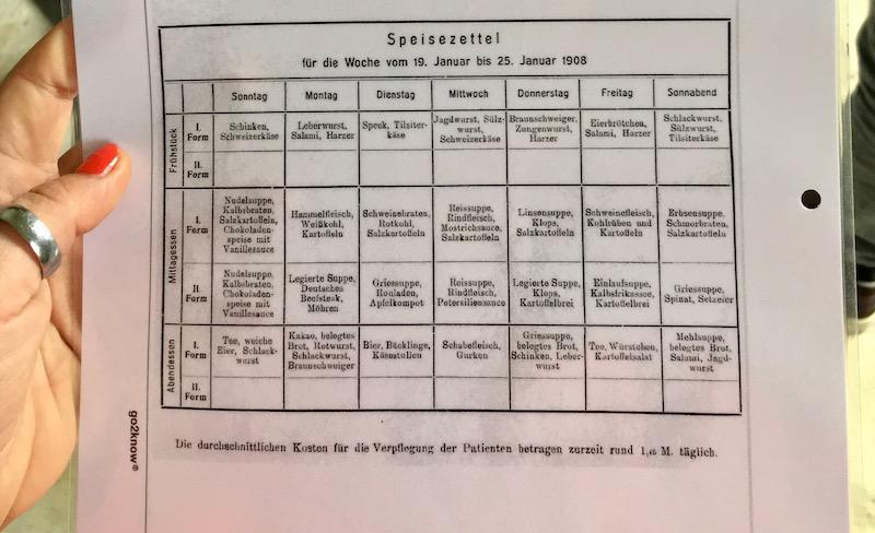 Lost Places: Speiseplan im Chirurgie-Krankenhaus in Beelitz Heilstätten