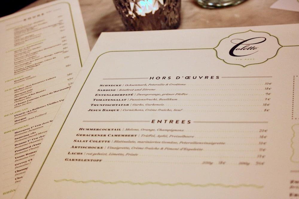 Speisekarte der Brasserie Colette von Tim Raue