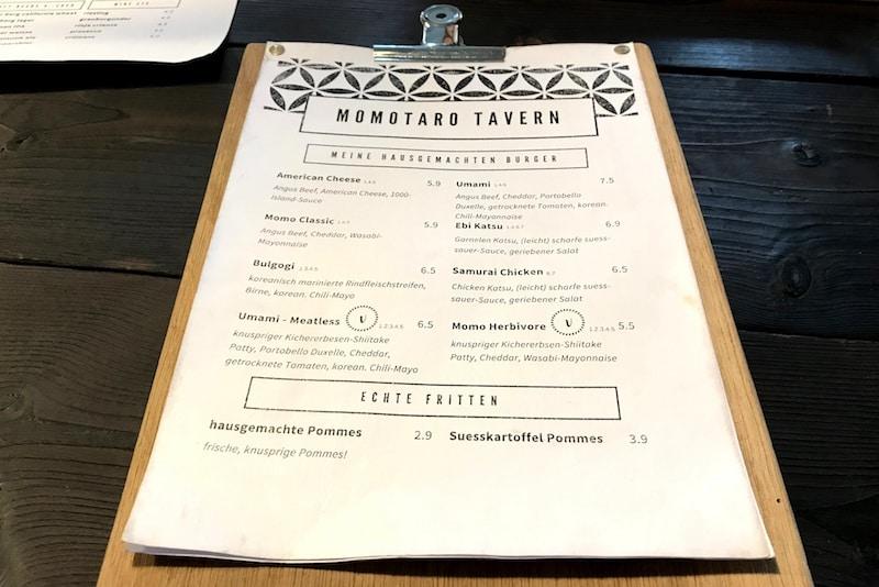 Speisekarte Momotaro Tavern