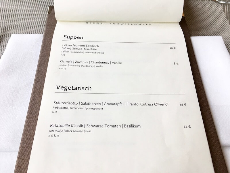 Speisekarte im Hafenrestaurant Ernest am Schwielowsee