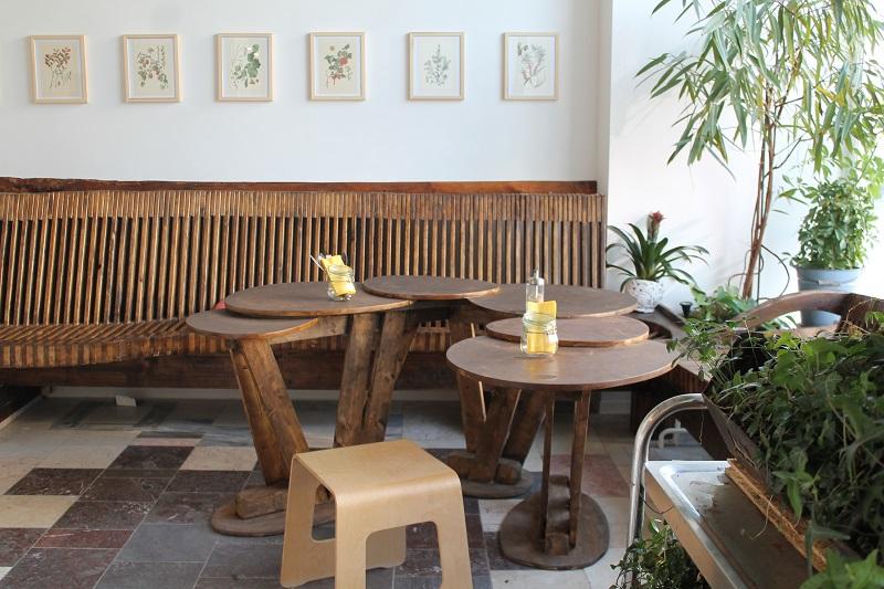 Holztisch, Pflanzen