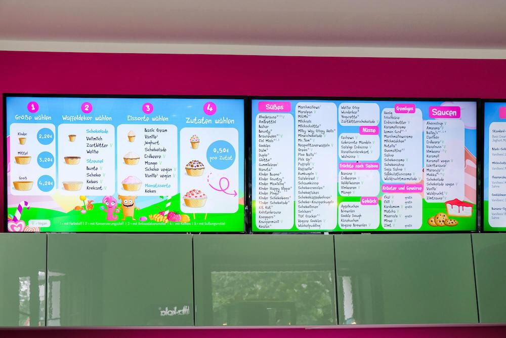 """Die """"Speisekarte"""" mit der Auswahl und den Preisen"""