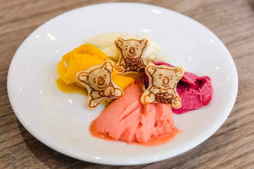 Probierteller mit veganen Eissorten und Sorbets und Koalabärchen.